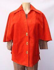Vintage 60s 70s Suede Leather Cape Jacket Swing Stroller Coat Orange Sz M L