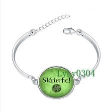 Slainte! Irish Drinking  glass cabochon Tibet silver bangle bracelets wholesale