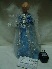 "FIBER OPTIC 12"" ANGEL X-MAS TREE TOPPER BLUE W/SILVER OVERLAY FREE SHIP"