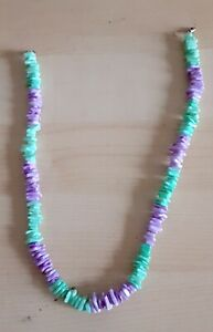"""15"""" CORAL GREEN & PURPLE PUKA SHELL NECKLACE  WITH METAL SCREW CLASP"""