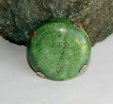 Ultra Rare! 1930s Aztec Sun Stone Solid Green Mexican Jade Brooch 925 Silver