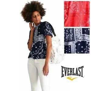 T-shirt donna EVERLAST manica corta maglietta larga disegno cachemire blu rosso
