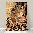 "Awesome Japanese SAMURAI Art CANVAS PRINT 36x24""~ Monster Fight #272"
