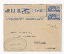 1947 Durban South Africa Airmail 6d Air Letter Sheet to Buenos Aires Argentina
