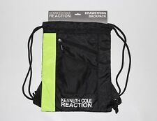 New Kenneth Cole Reaction Men's Black Neon Green Drawstring Backpack
