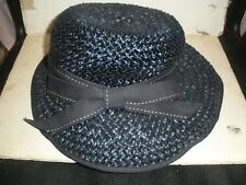 """Vintage Caprice New York Blue Straw Hat with Bow 13"""" long"""
