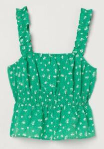 Ladies H&M Flounce Trim Crop Top Floral Green Print Seersucker Size L