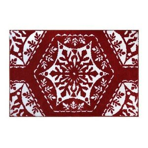 Fancy Snowflake Red Rug - 30'' x 20'' - NEW with tags