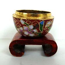 New listing Miniature Dollhouse Cloisenne Enamel Flower Pot Vintage Doll House Wooden Stand