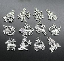 Wholesale 12 Constellation Retro Alloy Charms Pendants Jewelry DIY
