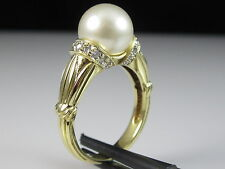 18K Pearl Diamond Ring Cultured Leer Tokyo Pearl Co. Yellow Gold Fine Size 7