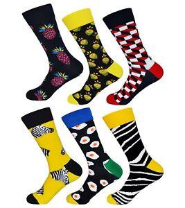 1 oder 6 Paar Damen & Herren Fun Socken   bunte lustige unisex Strümpfe 36 - 46