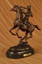 Hand Made Remington War Chief Bronze Sculpture Western Art Marble Base Statue