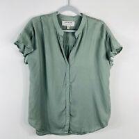Cloth & Stone Size Medium Green Tencel Button Top Short Sleeve Ruffle Flutter