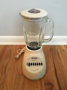 Oster Osterizer Blender Model 6650 14 Speed Base Glass Pitcher and Lid White