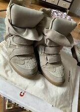 700$ Isabel Marant High Top Wedge Beige Nude Suede Leather Sneakers 39 8 7,5