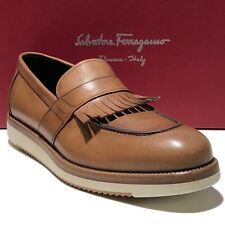 FERRAGAMO Tassel Moccasin Brown Leather 7 40 Loafers Men's Dress Shoes Casual