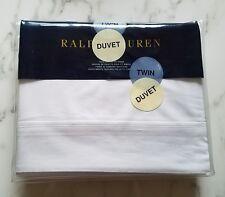 RALPH LAUREN Palmer TWIN DUVET COVER Cotton Tux White $285