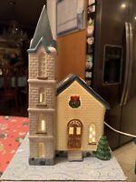 Vintage Christmas Town Village Church Porcelain Light Up Retired Rare Unique