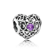 NEW! Authentic Pandora February Signature Heart Amethyst Charm #791784SAM $55