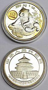 10 Yuan China Feinsilber Münze 1 Oz Unze Silber 1998 Panda mit Zertifikat in Box