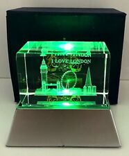 Laser Engarved Art Crystal with London Icons - Great British Gift
