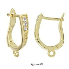 2x 18kt Gold Over Sterling Silver CZ Leverback Earring Hook Ear Wire #97572
