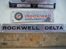 Name and Model Plates from Delta Rockwell 46-201 Wood Lathe Serial #EO 447 NICE