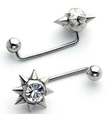 "Surface Piercing Barbells CZ SM Spikes 16g~11/16""-18mm"