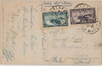 MAROCCO 1926 AIR MAIL POSTCARD COVER FROM CASABLANCA TO ITALY