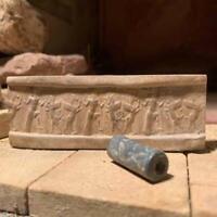 Mesopotamia Assyrian cylinder seal impression - Wrestling winged bull & griffin