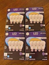 16 GE LED 9w / 60w Equivalent Soft White A19  Bulbs, 4 Packs Lot Non-Dimmable
