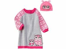 NEW GYMBOREE Owl Sweater Dress and knit hat Fair Isle Friends    SIZE 18-24 MTHS