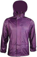 LADIES S-XXL 100% WATERPROOF WINDPROOF JACKET zip up hooded kagool Purple coat