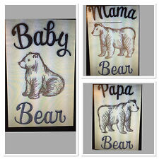 MAMA, PAPA, BABY BEAR SET OF 3 BATH,HAND, face cloth TOWELS EMBROIDERED BY LAURA