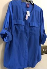 Beverly Drive Royal Blue Roll-up Sleeves~2 Pockets~Button~Womens 16/18W Top NEW