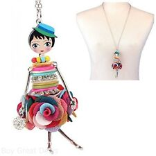 Bonsny Paris Handmade Doll Necklace Dress Pendant Lady Alloy Metal Shell