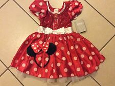 NEW Disney Store MINNIE MOUSE DRESS S 5/6 +HEADBAND EARS Halloween GIRLS COSTUME