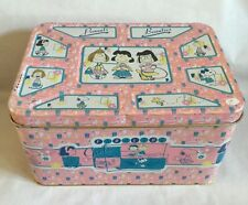 Peanuts Beauties Pink Tin Box 1998 Girls Storage Snoopy Peppermint Patty Lucy