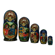 Authentic Russian Hand Painted Aesop's Fables 5pc set.
