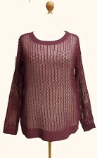 SIZE 16-18 Claret Wool Mix Net Knit Top French
