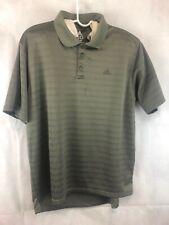 Adidas Polo Short Sleeve Mens Xl Gray w/Dark Gray Stripes Rn88387 100% Polyester