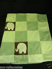 Amy Coe Limited Edition Red Label Green Elephants Patchwork Blanket Plush Velour