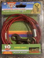 Four Paws Medium Weight Red Dog Tie Out Cable 10 feet