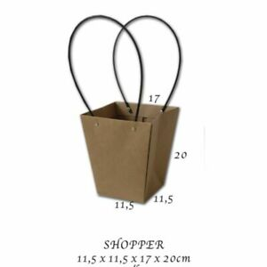 10X Busta Shopper in carta avana con manici in plastica 11.5X11.5X20 cm 0OVZ