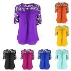 New Women Lace Crochet Short Sleeve Chiffon Hollow Plus Shirt Top Blouse T-shirt