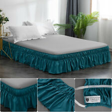 """14"""" Drop Bed Skirt Dust Ruffle Easy Fit Wrap Around Bed Queen Size Teal Solid US"""