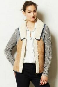 New Anthropologie Patchwork Sherpa Jacket Blue Suede size S $128 NWT