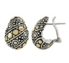 NEW! 18K Gold & Sterling Silver Dot Huggie Earrings  /John Hardy /Retail $695