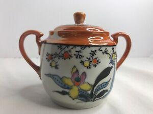 T T Made in Japan Hand Painted Sugar Bowl Orange Color Floral Design Luster Ware